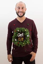 mens light up ugly christmas sweater ugly christmas sweater get lit sweater with led light up weed