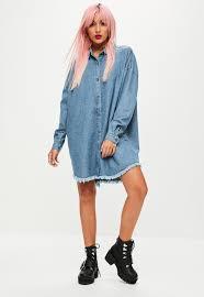 blue oversized denim shirt dress missguided