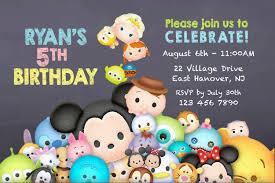 Mickey Mouse Birthday Invitation Cards Diy Print Invitation Tsum Tsum Invite Tsum Tsum Party