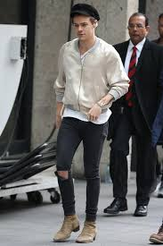 harry styles out and about wearing paige denim skinny and saint