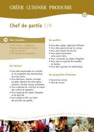 fiche de poste chef de cuisine fiches des métiers hôtellerie restauration hôtellerie restauration