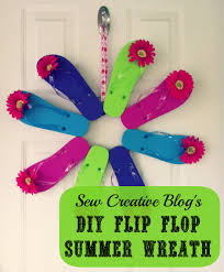 diy flip flop summer wreath front door decoration hello creative