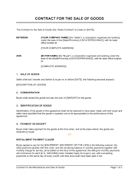 contract for the sale of goods template u0026 sample form biztree com