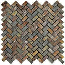 Rusty Brown Slate Mosaic Backsplash by Merola Tile Crag Herringbone Sunset Slate 12 In X 12 In X 10 Mm