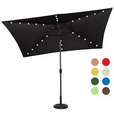 solar powered 26 led lighted outdoor patio umbrella with crank and