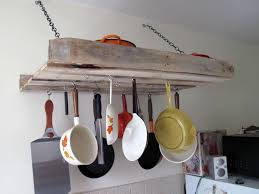 kitchen accessories natural wood shelf wall mounted pot rack