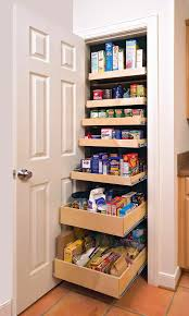 brown wooden pantry cabinet with four shelves having double doors