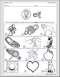 ending consonant sounds matching sound to picture letter f