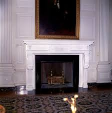 kn c22506 painting and fireplace in state dining room of white