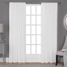 Winter Window Curtains Belgian Winter White Textured Linen Look Jacquard Sheer Rod Pocket