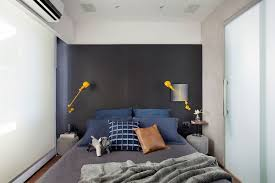 Bedroom With Yellow Accent Wall Small And Refined Contemporary Apartment In Rio De Janeiro