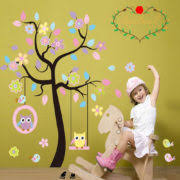 Owl Wall Decor by Charming Colorful Tree Decals With Hanging Owl Diy Wall Decor