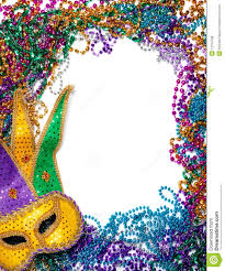mardi gras picture frame border made of mardi gras bead and mask on white royalty free