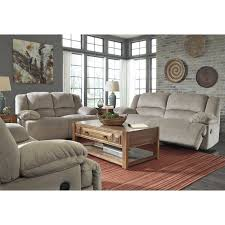 Fabric Recliner Sofa ashley toletta 3 piece fabric reclining sofa set in granite