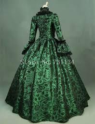 impresión verde brocado vestido victoriano vestido de ropa vintage