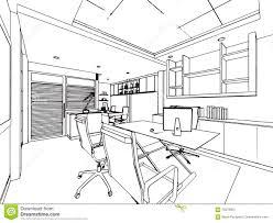 dessin de bureau décrivez la perspective de dessin de croquis d un bureau de l