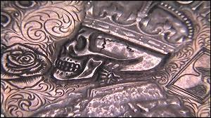tattoo design coin memento mori penny skull scrollwork rose youtube