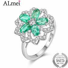 flower emerald rings images Almei 0 3ct lotus green flower emerald bead unique wedding jpg
