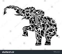elephant floral ornament decoration vector stock vector