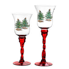 spode tree set of 2 stem fluted footed glass candle