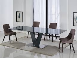 dark gray base dark gray glass extendable dining table by