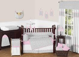 pink and gray chevron zig zag baby bedding 9pc crib set by sweet