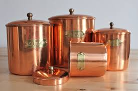 Canister For Kitchen Vonshef Set Of 3 Copper Tea Coffee Sugar Canisters Kitchen Storage