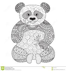 hand drawn zentangle panda for coloring book for tattoo