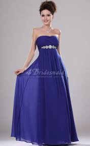 a line strapless long royal blue chiffon bridesmaid dresses bd451