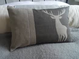 Stag Cushions Hand Printed Reversible Charcoal Linen Monarch Stag Cushion