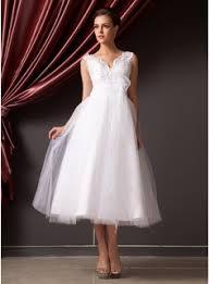 a line princess v neck tea length organza tulle wedding dress with