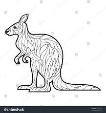 vector monochrome hand drawn illustration kangaroo stock vector