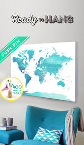 Pin World Map by Push Pin World Map Canvas World Map Watercolor Blue Countries