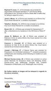 Active Bench Warrant Arrest Logs Elmira Police Department Facebook