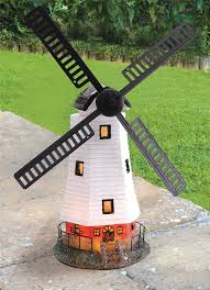 traditional solar powered windmill wind powered led garden