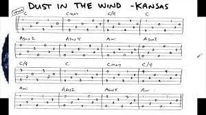 Picking Sheet Dust In The Wind Kansas Tab Folk Travis Picking 150 Bpm