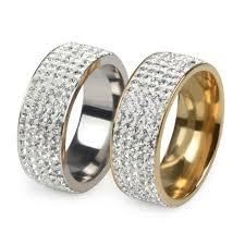 steel finger rings images 2018 5 rows 316l stainless steel diamond crystal rings gold ring jpg