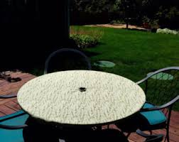 Outdoor Patio Table Cover Round Fitted Tablecloth With Seat Cushions In Red With White