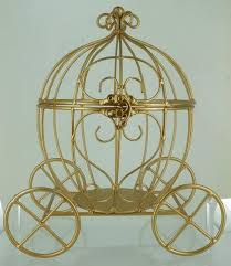 large gold metal wire cinderella pumpkin carriage for