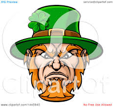 clipart of a cartoon tough angry st patricks day leprechaun mascot