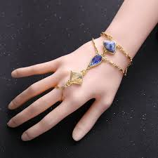 bracelet with ring set images Wholesale unique blue gem fashion hand bracelet ring set yiwuproducts jpg