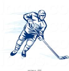 royalty free vector of a blue ice hockey player logo by vector