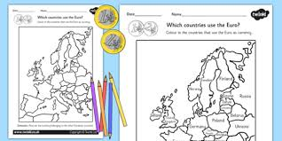 colour in the euro countries worksheet europe geography