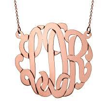monogrammed necklace custom 14k solid white gold monogram
