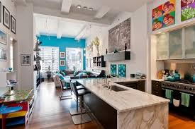 modern open kitchen blue wall living room and modern open kitchen space dweef com