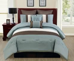 Black And Teal Comforter Bedroom Blue And Brown Comforter On Brown Wooden Queen Size Bed