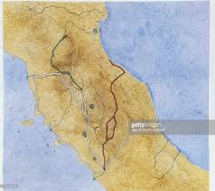Map Of Ancient Italy by Map Of Central Italy Depicting Two Roman Roads Via Flaminia 220