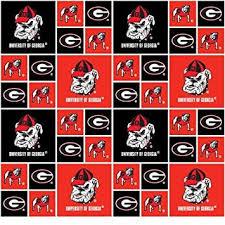 Georgia Bulldog Rugs Amazon Com University Of Georgia Bulldogs Cotton Fabric 100