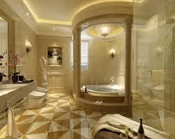 bathroom luxury modern bathroom with cream color wallapaper idea