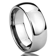 surgical steel band 8mm stainless steel mens womens rings high polished domed